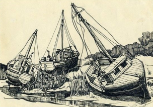 Boat off Rock Harbour, Cape Cod (pen & ink on paper)