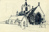 Study of a Church and Chapel, 1956 (pen, pencil, & ink on paper)
